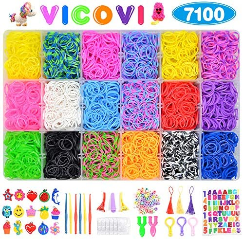 7100+ Rainbow Rubber Bands Mega Refill Kits for ブラcelets、 Loom Rubber Bands Set Include:6500+ Loom Bands + 600 Clips + 6 Crochet Hooks + 50 Beads + 15 Charms + 3 Tassels +3 Backpack Hook + 3 Hair 141[並行輸入]