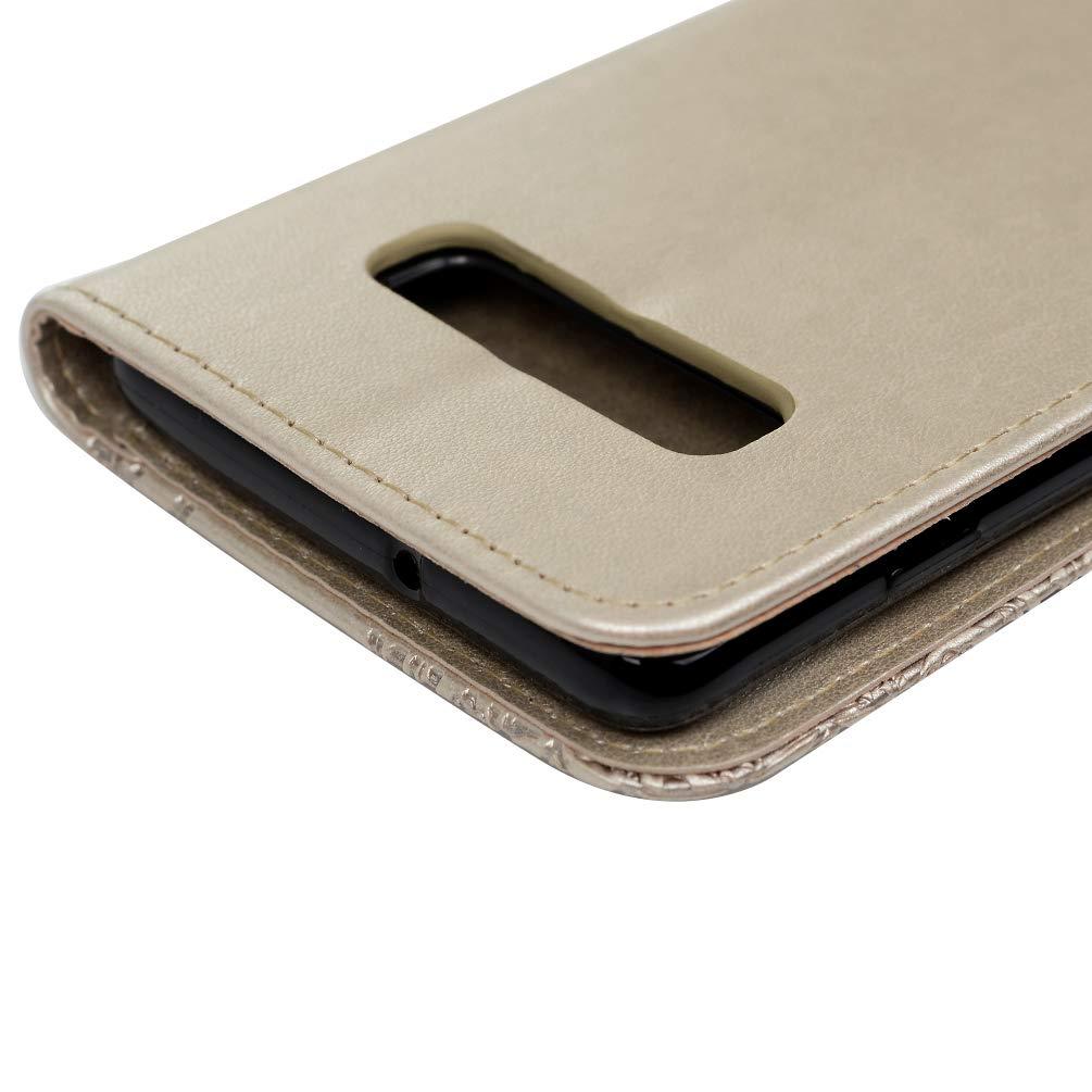 6.4 Zoll Gepr/ägte Eule mit Strasssteinen Leder Handyh/ülle Klappbares Brieftasche Schutzh/ülle Wallet Case Cover mit Integrierten Kartensteckpl/ätzen Grau S10 Plus H/ülle f/ür Samsung Galaxy S10