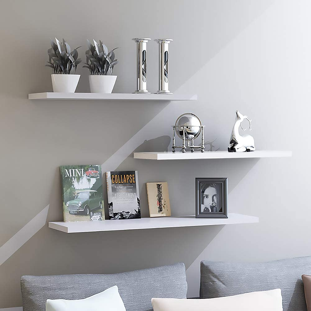 aimu Set of 3 Wall Mounted Floating Shelves,Space Saving Wall Shelves Wall Mounted Modern Style Home Decor Ledge Shelf for Toilet Kitchen Office and More,White.
