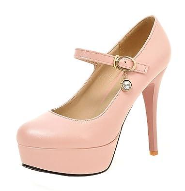 UH Damen High Heels Plateau Stiletto Mary Jane Pumps mit Riemchen 12cm Absatz Party Schuhe