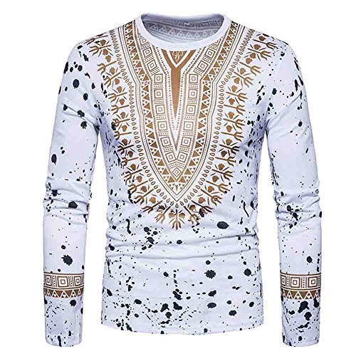 HGWXX7 T-Shirt Men Casual African Print Long Sleeved O-Neck Pullove Blouse Top (XL, White)