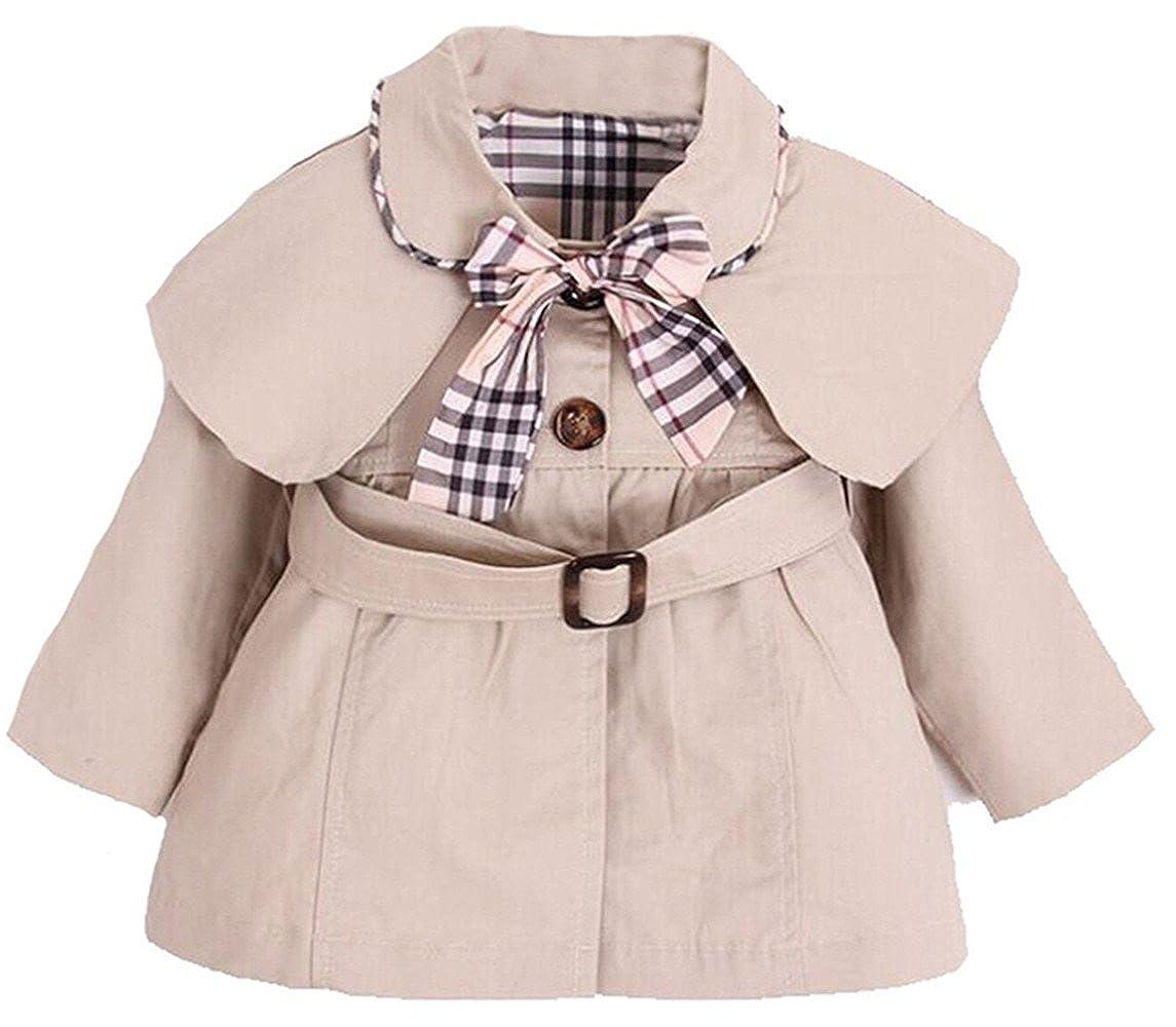 a56f1c04dd81 Amazon.com  Kid Baby Girls Spring Fall Warm Trench Bow Tie Coat ...