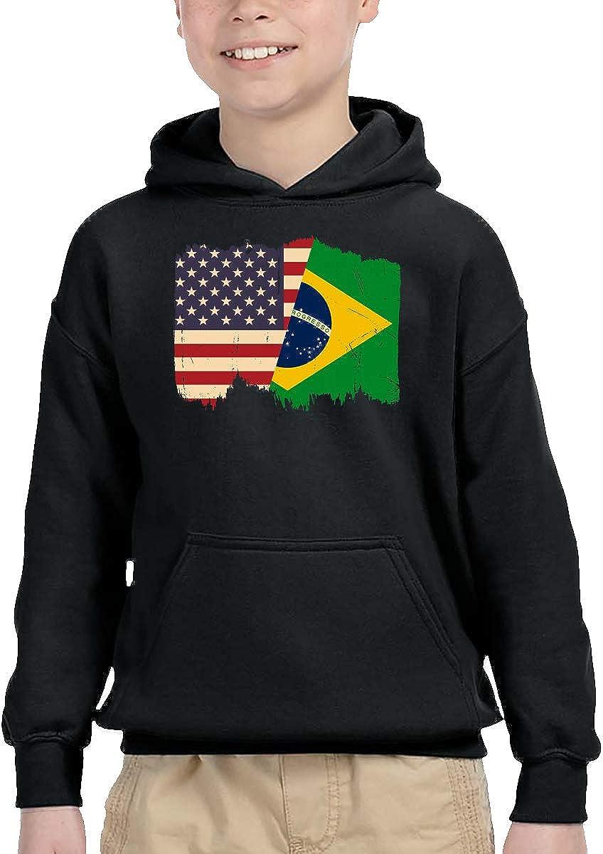 UGFGF-1S Distressed Brazil American Flag Kid Boys Girls Long Sleeve Sweatshirt Pocket Hoodie 2-6T