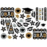 """Grad Printed Cutout in Black, Silver and Gold Graduation Theme Party Decoration, Paper, 14"""" x 12"""", Value Pack of 30."""