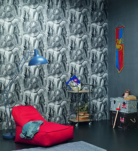 291100 - Kids & Teens II Armoured Knights Grey Silver Galerie Wallpaper (Armoured Knight)