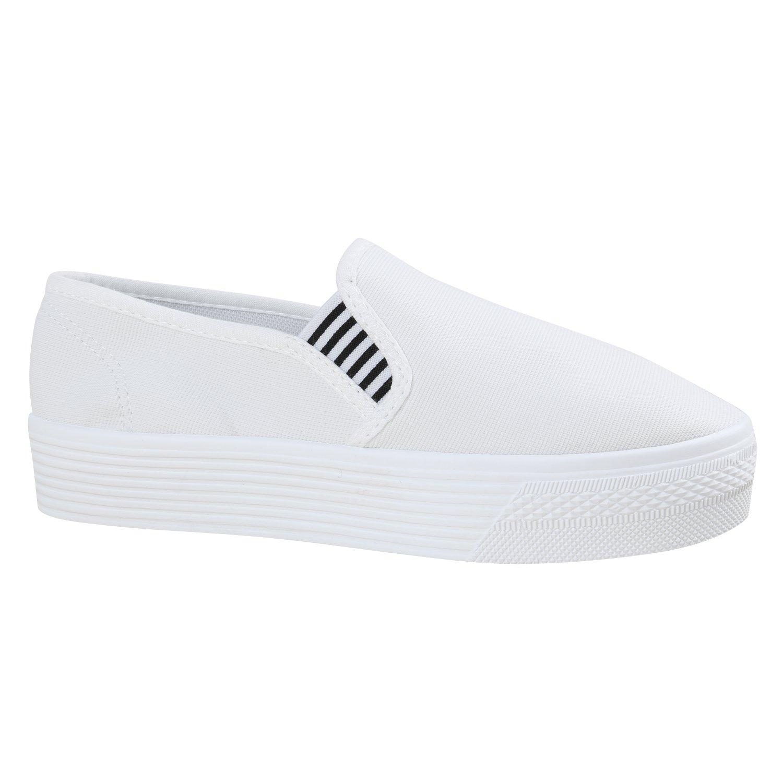 Stiefelparadies Damen Sneaker Slip Ons mit Plateau Glitzer Flandell  40 EU|Weiss Weiss Basic