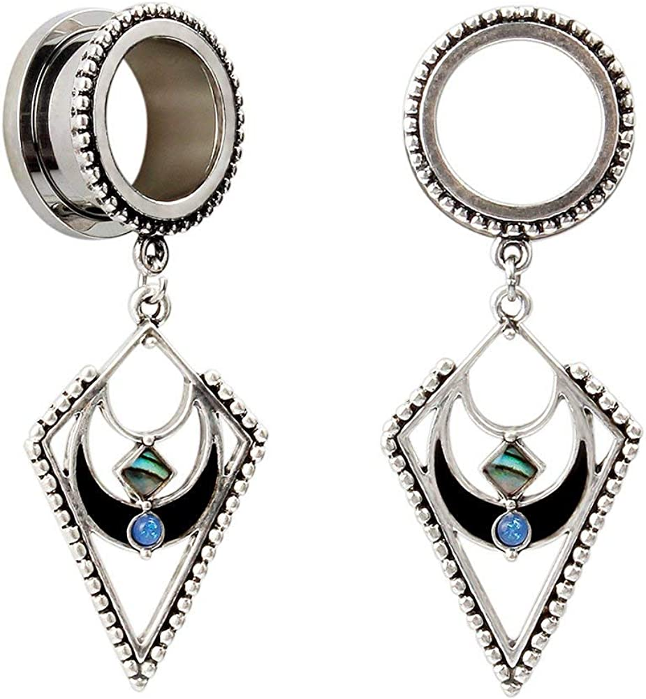 Briana Williams Surgical Steel Screwed Ear Tunnels Large Triangle with Opal Dangle Pendant Ear Plugs Expander 6-30mm Gauges for Ears Stretcher Piercing