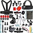 Vanwalk Sport Accessory Kit for GoPro Hero5 Session Hero1 2 3 3+ 4 SJ4000 5000 6000 7000 Xiaomi Yi Camera, Essentials Accessories Kit for DBPOWER, AKASO, Canany, Lightdow Cameras(25 Items)