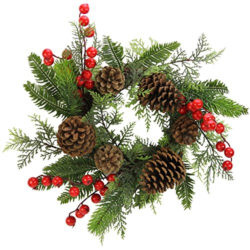 Admired By Nature Faux Red Berries Pine Cones & Cedar Christmas Wreath/Candle Ring, 14