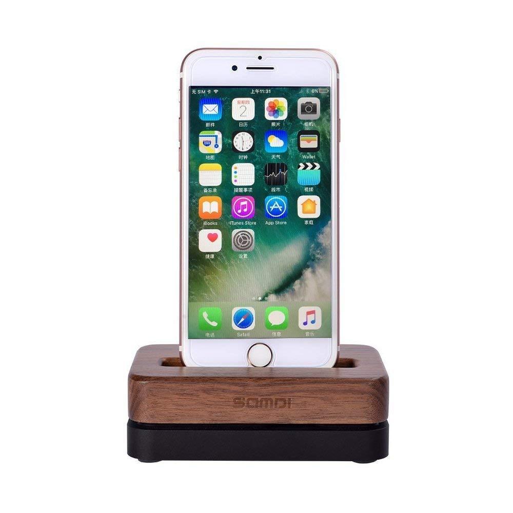 Amazon.com: iPhone Dock y soporte, SAMDI Madera teléfono ...