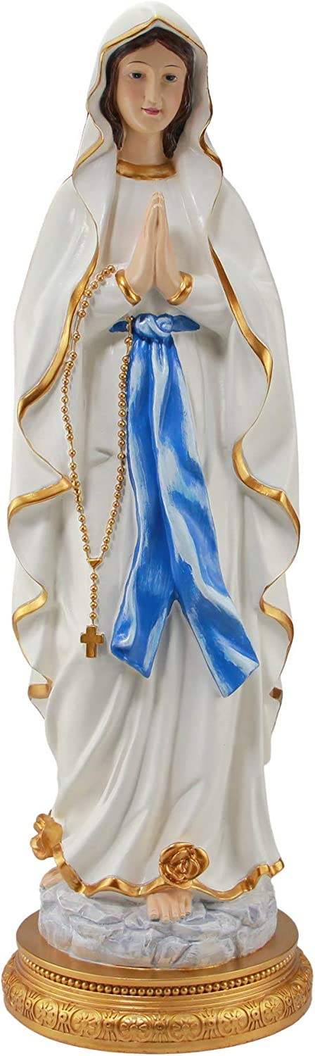 Woodington's Our Lady of Lourdes Blessed Virgin Mother Mary Large Colored Resin 24 Inch Statue