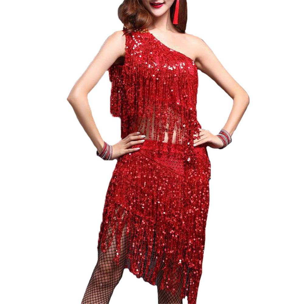 Rouge Peggy Gu Robes de Danse pour Femmes Femmes Paillettes Tassel Robe De Danse Latine Outfit Une épaule Débardeur avec Jupe Danse Formation Pratique Robe Salle De Danse Danse Costume De Perforhommece Large
