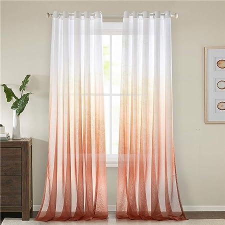 Orange Lindong Lot de 1 rideau en voile transparent avec /œillets pour salon chambre /à coucher 100x160 BxH St/ück x1