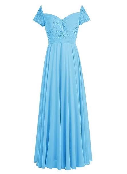Bbonlinedress Vestido Mujer De Boda Fiesta Elegante Largo Escote En V Manga Corta De Gasa Azul