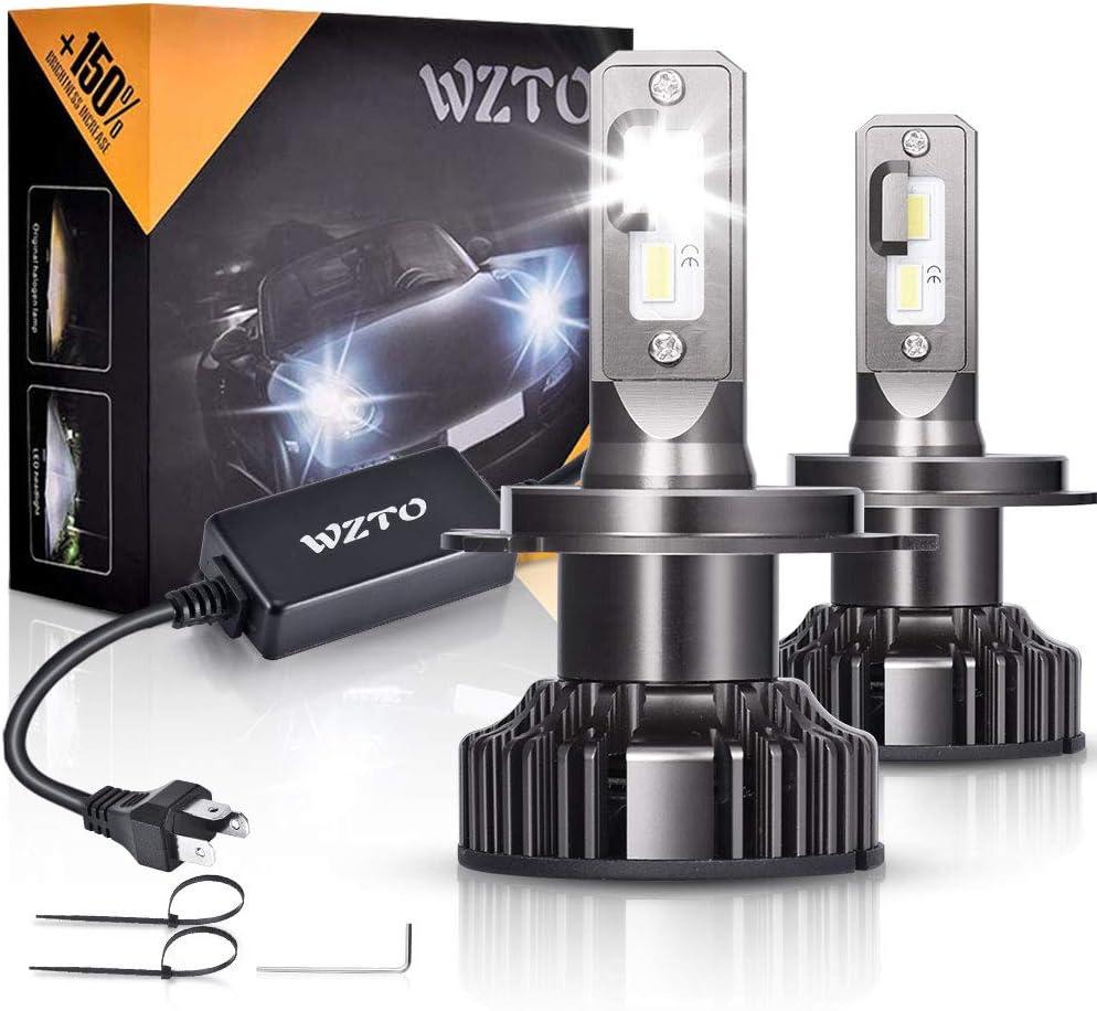 H4 LED, WZTO 12000LM Bombilla H4 led Coche Faros Delanteros 70W ...