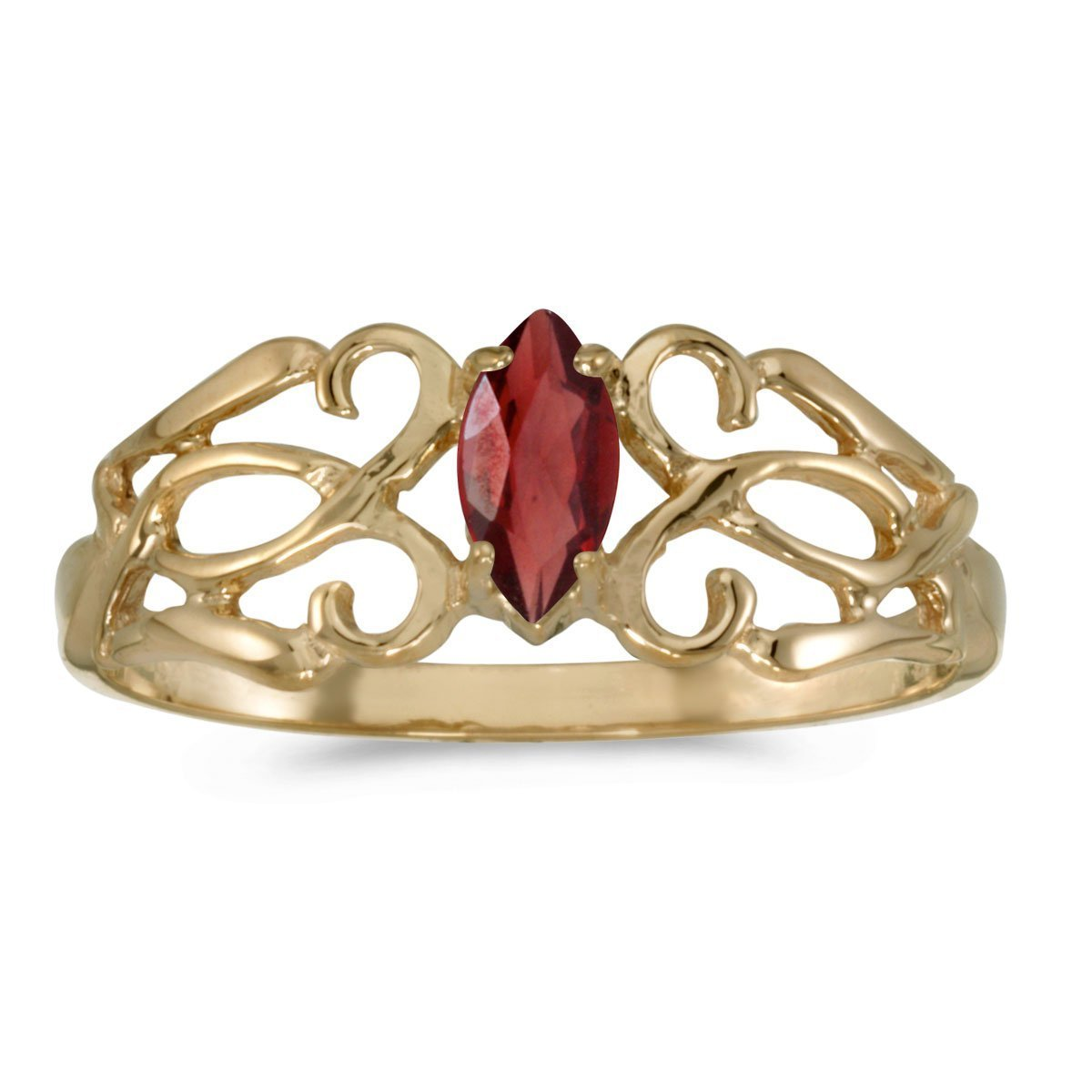 FB Jewels 14k Yellow Gold Genuine Red Birthstone Solitaire Marquise Garnet Filagree Wedding Engagement Statement Ring - Size 11 (1/4 Cttw.)