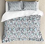 Geometric Queen Size Duvet Cover Set by Ambesonne, Video Games Stylized Modern Circular Maze Path Curves Rounds Display, Decorative 3 Piece Bedding Set with 2 Pillow Shams, Pale Blue Charcoal Grey