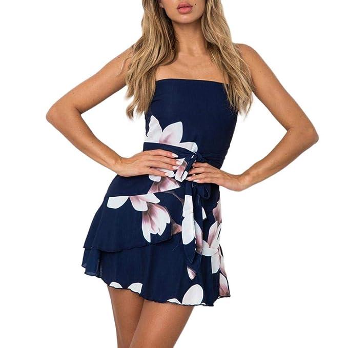 VJGOAL Moda para Mujer Verano Sexy sin Mangas Off The Shoulder Estampado de Flores Beach Mini