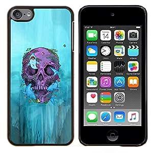 KLONGSHOP // Cubierta de piel con cierre a presión Shell trasero duro de goma Protección Caso - Motorista Cráneo de la pintada de la Muerte Profundo Roca - Apple iPod Touch 6 6th Touch6 //