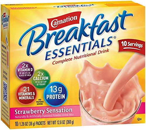 Carnation Instant Breakfast (Carnation Breakfast Essentials Powder Drink Mix, Strawberry Sensation, 10 Count Box of 1.26 oz Packets)