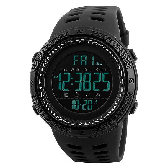 Reloj Deportivo al Aire Libre de los Hombres 50m Reloj retroiluminado Multifuncional Impermeable de la PU de los Relojes de Digitaces de la PU: Amazon.es: ...