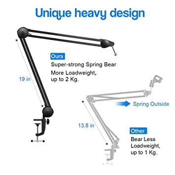 InnoGear Microphone Stand Sturdy Swivel Mount Studio Suspension Mic Clip Adjustable Boom Studio Scissor Arm, Spring Built-in Stand for Blue Yeti Snowball Microphone and Blue Yeti Nano