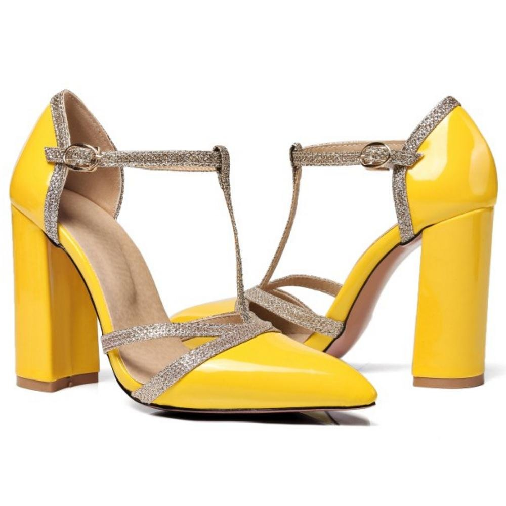 AicciAizzi Women T Strap Sandals Heels B07DVV1FX3 4 22.5 US = 22.5 4 CM|Yellow 5a2d75