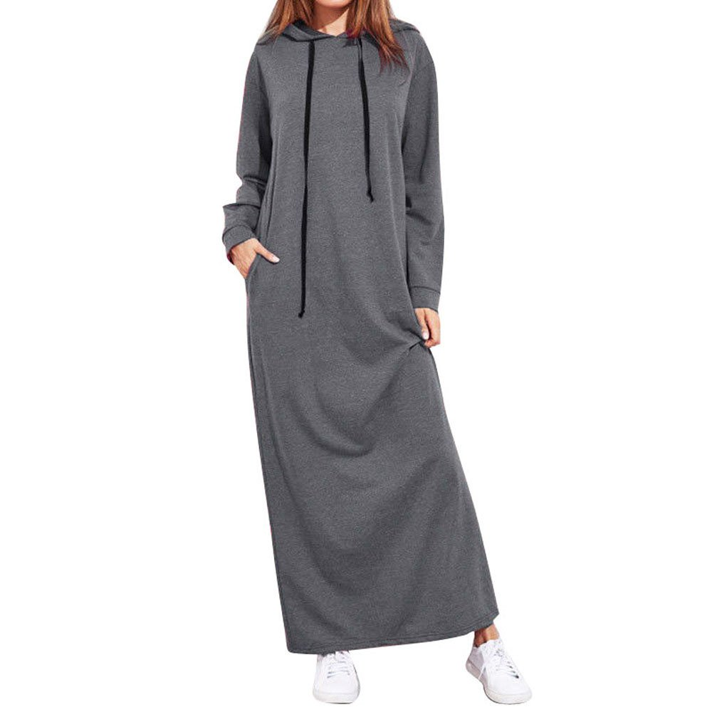 Kaitobe Womens Long Sleeve Casual Hooded Dress Autumn Winter Loose Solid Long Hoodies Maxi Dress with Pocket