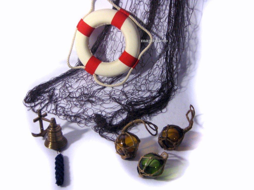 Schiffsglocke Netz 2X 1 m 6er Set Kleine Fischerkugeln 3X Rettungsring