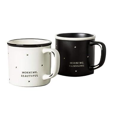 Coffee Mug Cup Morning Beautiful and Handsome Hearth Hand Magnolia 2 Pc