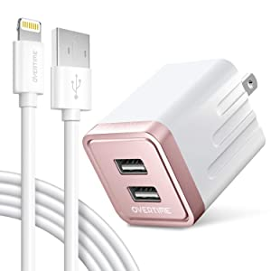 iPhone Charger Set, Overtime Apple MFi Certified Lightning Cable with Dual USB Wall Adapter 2.4 AMP Compatible w/iPhone 11 Pro Max XS XR X 8 7 6S 6 Plus SE AirPods iPad (Rose Gold/White, 4ft)