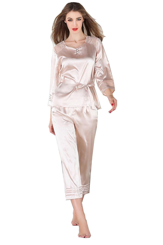 Conjuntos de pijamas de verano para mujer Camisón de lencería Ropa para mujeres Pantalones de manga larga de encaje Pantalones de dos piezas Conjuntos de ...
