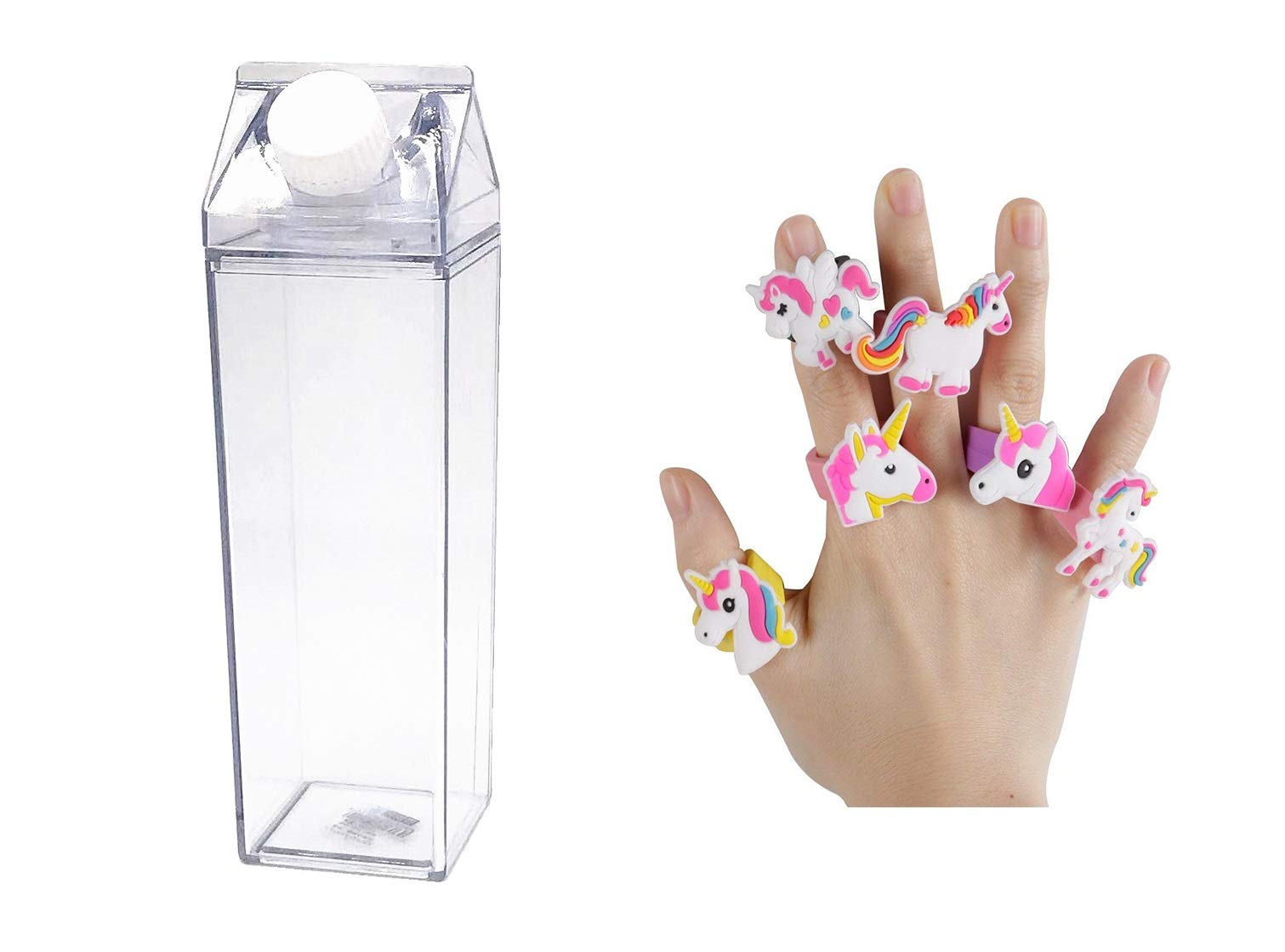 Unicorn Water Bottle - Zero Waste Water Bottle - Milk Box Plastic - Milk Bottles - Juice Bottle - BPA Free Environment Friendly Material 500ml + 2 Cute Unicorn Rings (Style 6)