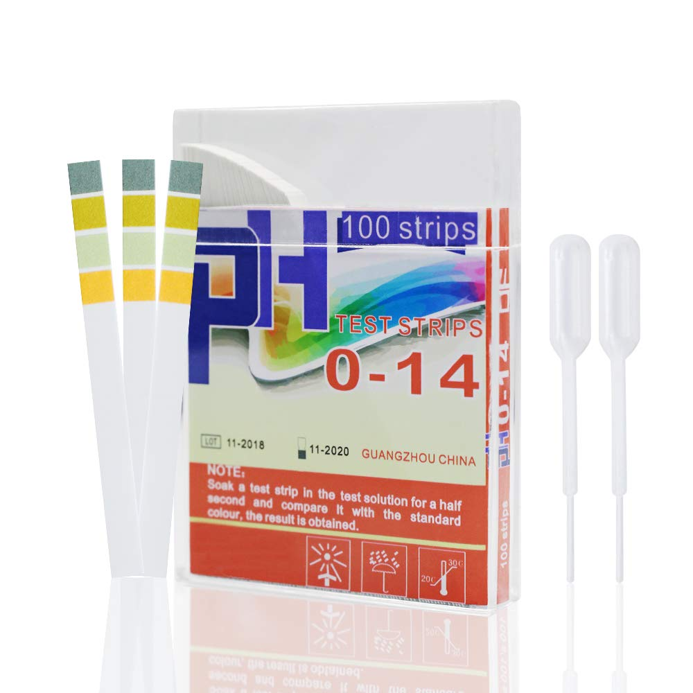 PH Test Strips, High Accurate PH Testing Paper for Testing Body Acidity and Alkalinity Through Saliva and Urine. Food and Alkaline Water, Hydroponic System PH Levels Monitoring. 100ct