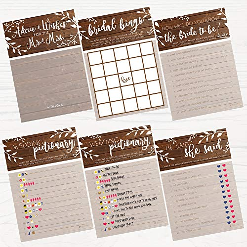 Bridal Shower Games | Rustic | 5 Games | 25 Sheets Each | Includes Bridle Bingo, Do You Know the Bride, Advice for the Mr. & Mrs, Emoticon Guess, He Said She Said| 5 x 7 inches