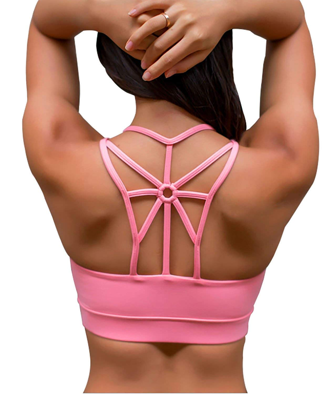 SHAPERX Women's Sports Bra Padded Mid Impact Support Strappy Criss Cross Back Running Workout Yoga Bras Pink, SZ139-Pink-S