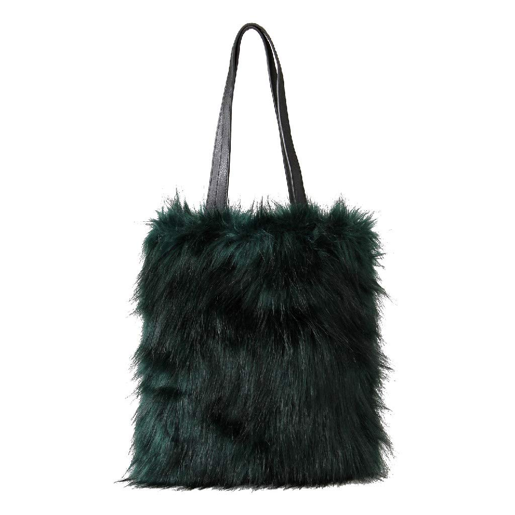 34fb24c8a890 Amazon.com  Time Concept Enrich Eco Faux Fur Tote with Zipper Pockets -  Black
