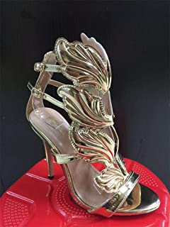 6fa00a47809 HuWang BAYUXSHU Summer Women High Heels Gold Winged Leaves Cut-Outs Stiletto  Gladiator Sandals Flame
