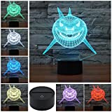 3D Illusion Lamp Gawell Big Shark Effect Night Light 7 Colors with Touch Switch USB Cable Nice Gift Home Office Decorations