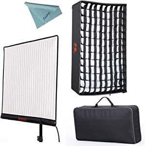 Falcon Eyes RX-24TDX (New Version) 150W Roll-Flex Photo Light 3000K-5600K Bi-Color LED Photo Light with Honeycomb Grid Softbox Flexible Continuous Output Lighting for Shooting (RX-24TDX+RX-24TDXSBHC)