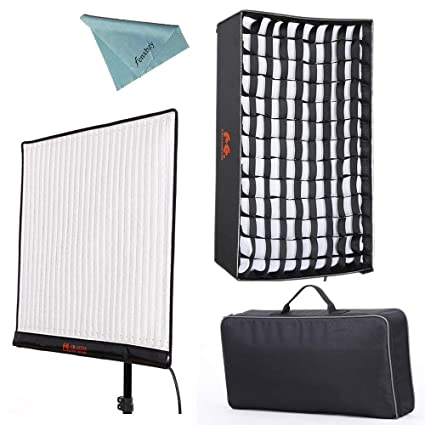Falcon Eyes RX-24TDX 150W Roll-flex Photo Light 3000K-5600K Bi-Color LED  Photo Light with Honeycomb Grid Softbox Flexible Continuous Output Lighting
