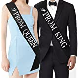 """""""Prom King"""" and""""Prom Queen"""" Sashes - Graduation Party School Party Accessories, Black with Silver Print"""