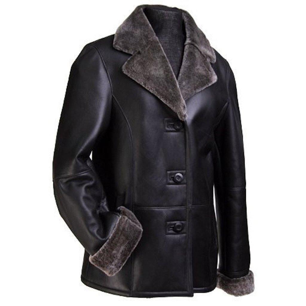 Womens Polish Leather Jacket w/ Faux Fur