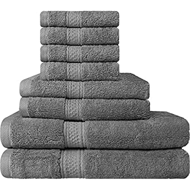 Premium 8 Piece Towel Set (Grey); 2 Bath Towels, 2 Hand Towels and 4 Washcloths - Cotton - Machine Washable, Hotel Quality, Super Soft and Highly Absorbent by Utopia Towels