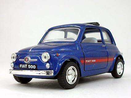 Amazon Com Classic Fiat 500 1 24 Scale Diecast Metal Model Blue