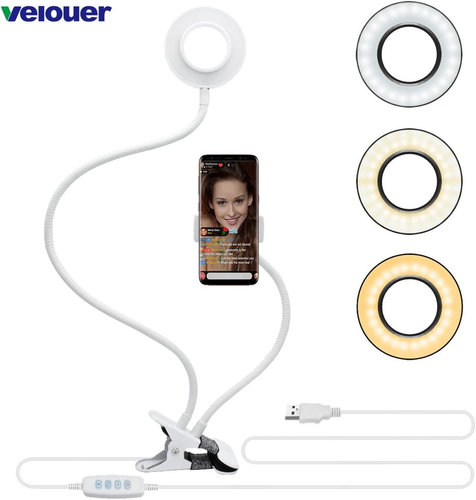 Velouer Phone Holder with Selfie Ring Light,for Live Stream,Video Chat,[3-Light Mode] [10 Levels of Brightness] with Flexible arm,Suitable for YouTube, Facebook,Compatible iPhone 6 7 8Plus X Android