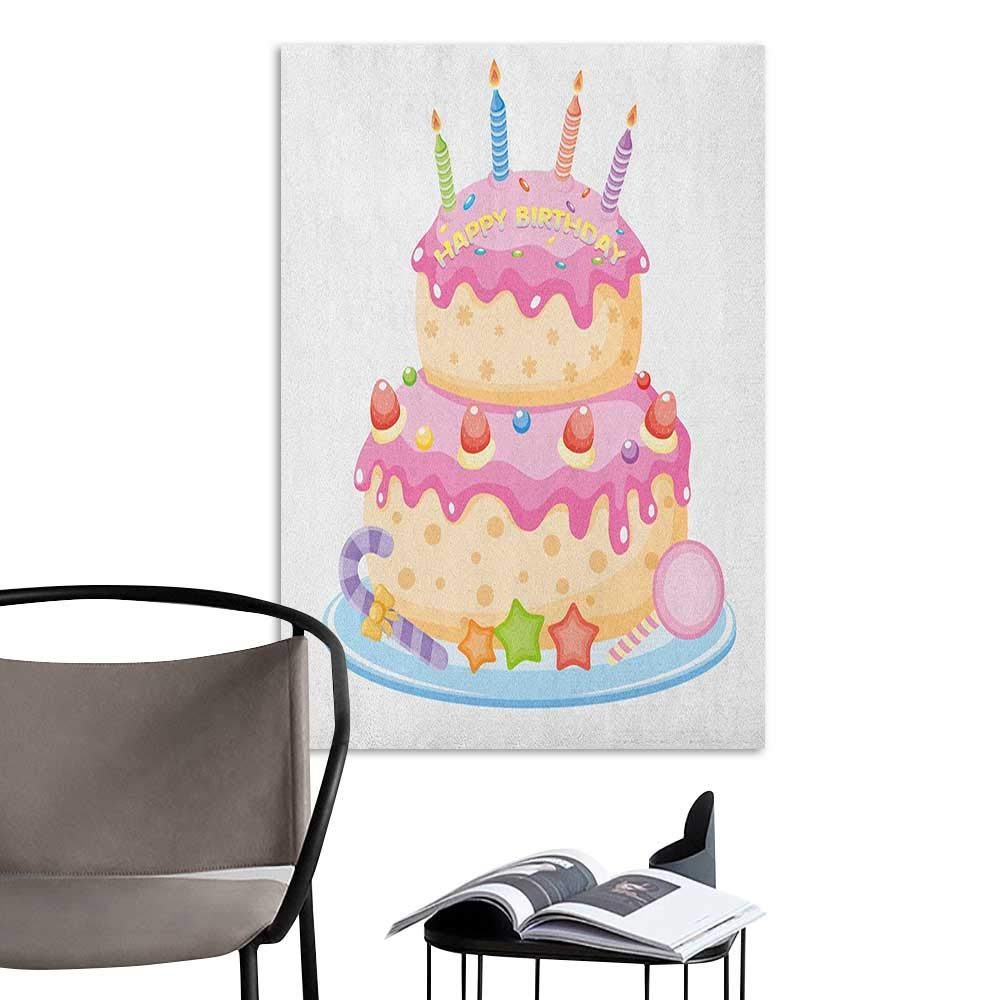 Canvas Print Wall Art Kids Birthday Pastel Colored Birthday Party Cake with Candles and Candies Celebration Image Pale Pink for Kids Rooms Boy Room W20 x H28