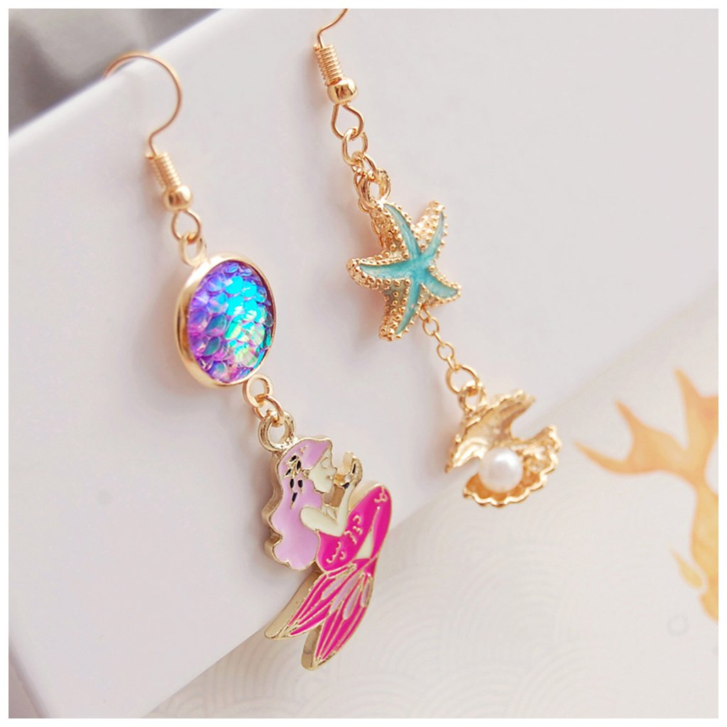 Cute Romantic Mermaid Starfish Sea Shell Charm Enamel Glaze Metal Asymmetry Drop Earrings Women Fashion Summer Holiday Jewelry Accessory