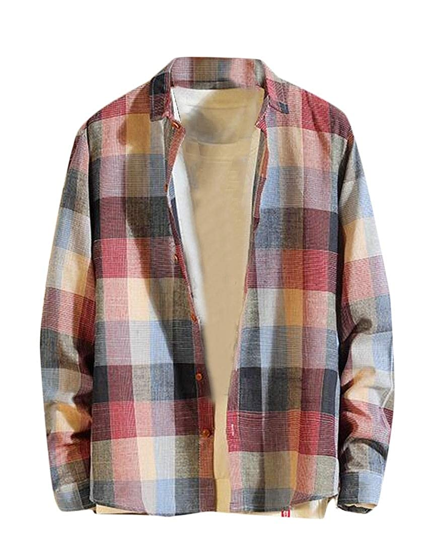 YYG Mens Long Sleeve Button Up Fleece Plaid Button Up Dress Work Shirt