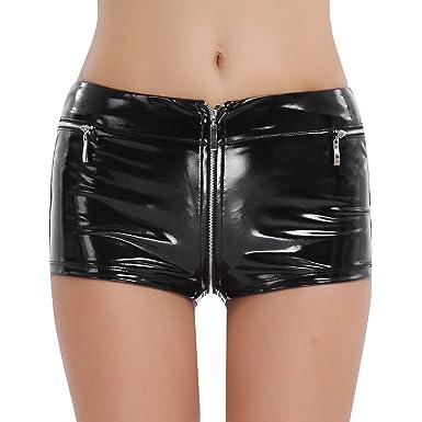 Hose Sexy Booty Damen Tiaobug Hotpants Metallic Kurze Leder Shorts 1uKJc35FTl